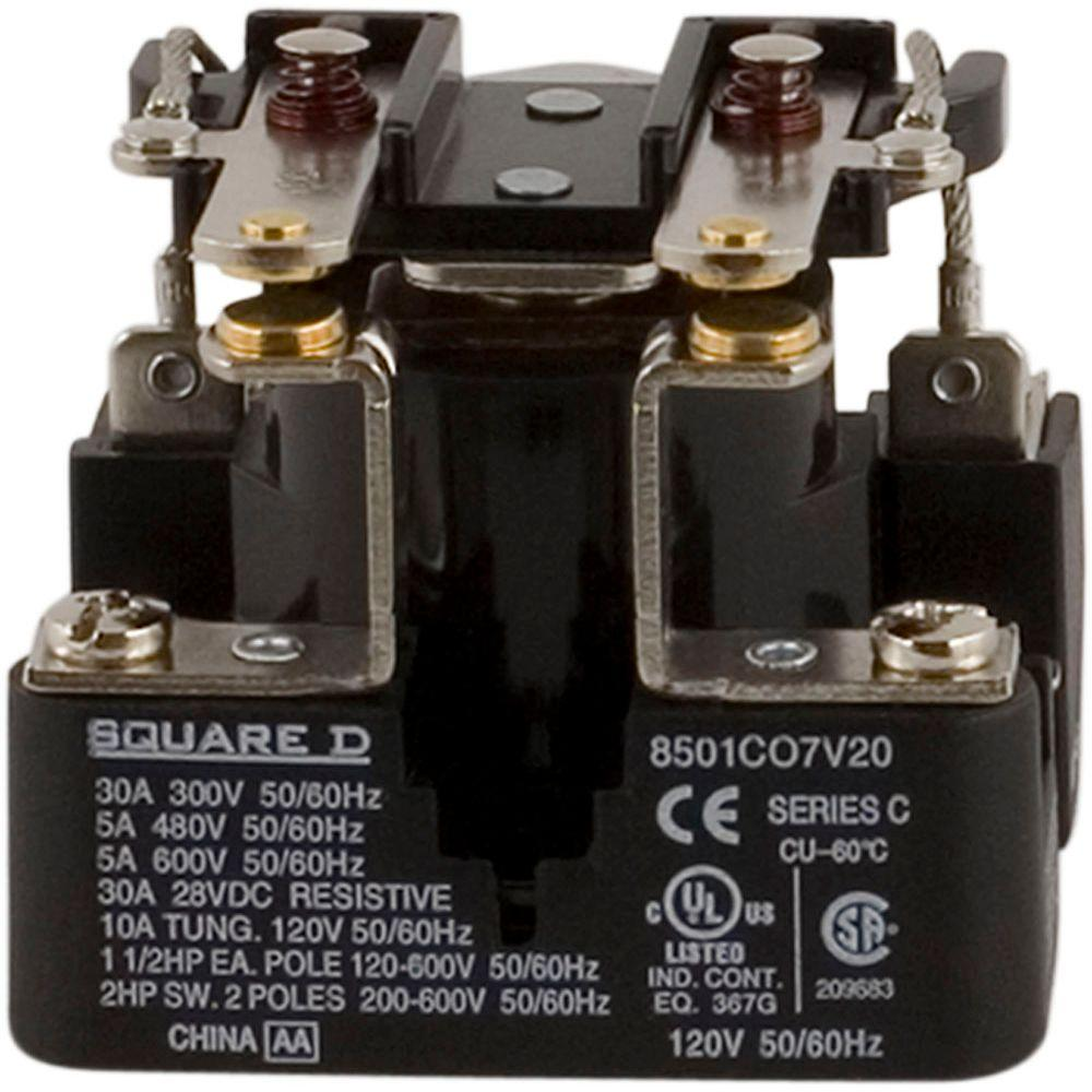 Square D 30 Amp Power Relay Coil 8501co7v20 The Home Depot 30a 24v Wiring Diagram