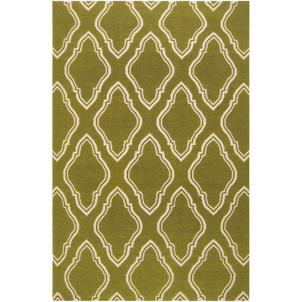 Surya Jill Rosenwald Olive 3 ft. 6 in. x 5 ft. 6 in. Flatweave Area Rug