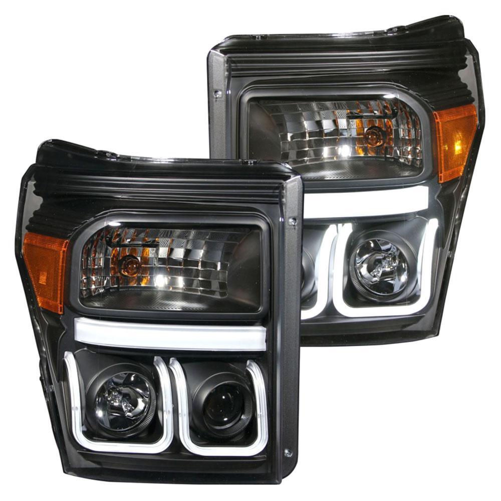 2011-2015 Ford F-250 Projector Headlights w/ U-Bar Black
