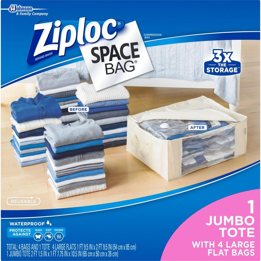 Large Plastic 4 Large Flat Bags, 1 Underbed Tote, Space Bags 2-5/Pack, Clear