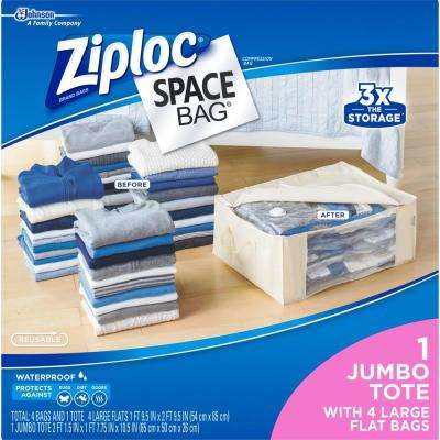 Large Plastic 4 Large Flat Bags, 1 Underbed Tote, Space Bags 2-5/Pack