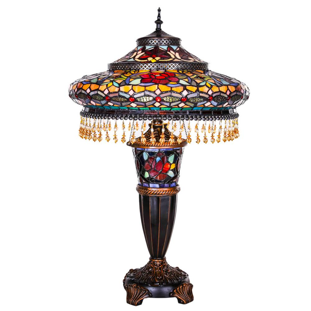 Multi Colored Stained Gl Indoor Table Lamp With Parisian