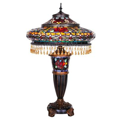 27.5 in. Multi-Colored Stained Glass Indoor Table Lamp with Parisian Shade and Lit Base