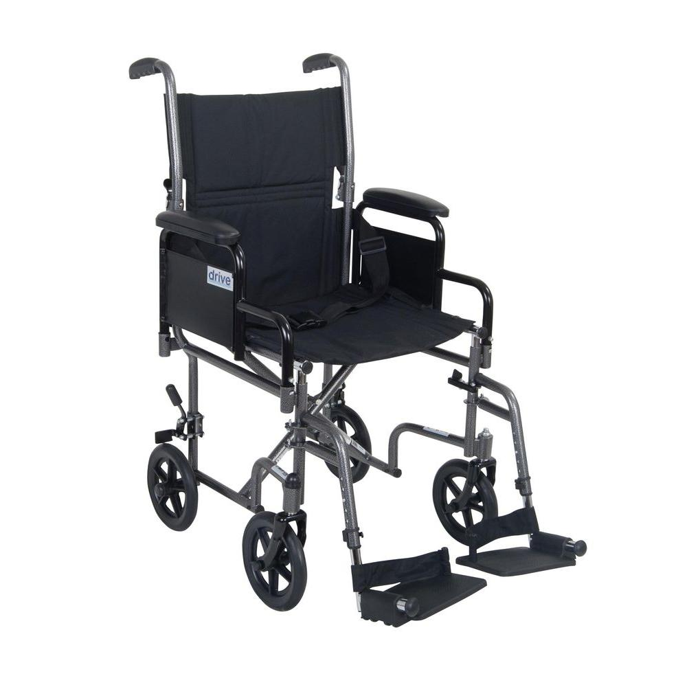 Drive Lightweight Steel Transport Wheelchair with Detachable Desk Arms and 19 in. Seat