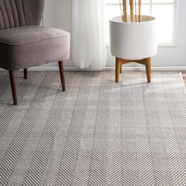 Nuloom Kimberely Casual Striped Gray 3 Ft X 8 Ft Runner Hmco4c