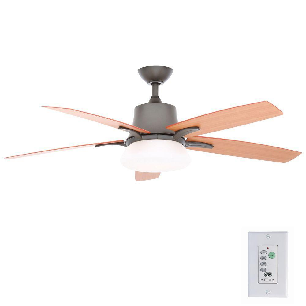 Hampton Bay Waleska II 52 in. Indoor/Outdoor Natural Iron Ceiling Fan with Wall Control and Light Kit