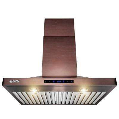 30 in. Convertible Wall Mount Brushed Bronze Stainless Steel Kitchen Range Hood with Touch Panel