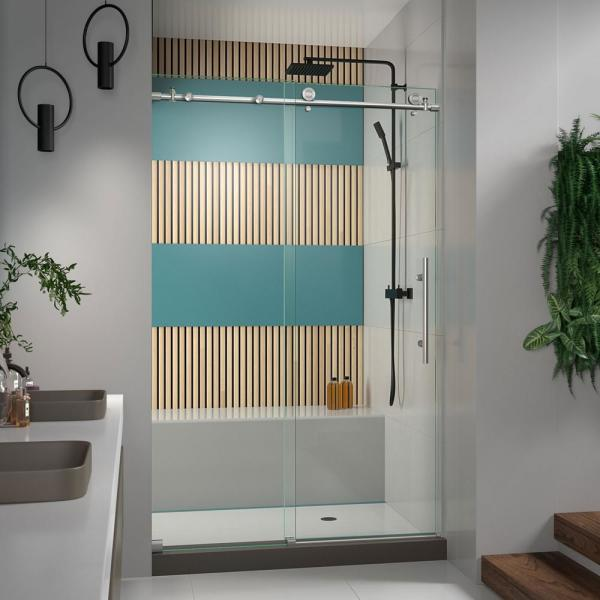 Enigma-X 44 in. to 48 in. x 76 in. Frameless Sliding Shower Door in Brushed Stainless Steel
