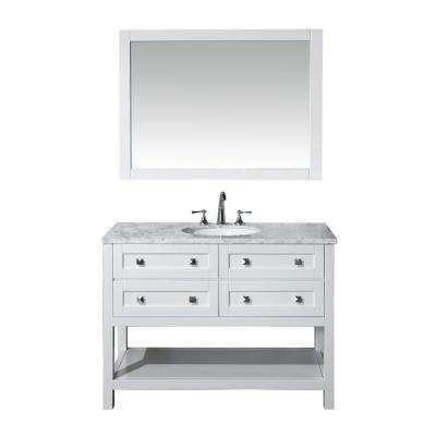 Marla 48 in. W x 22 in. D Vanity in White with Marble Vanity Top in Carrara White and Mirror