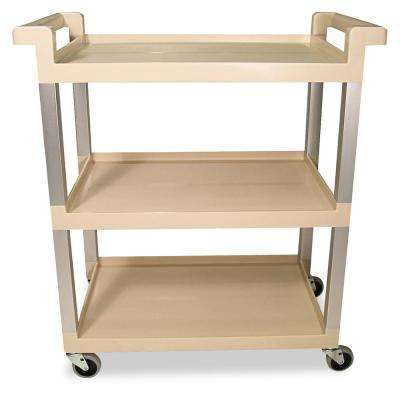 Beige Utility Cart with 3 in. Swivel Casters
