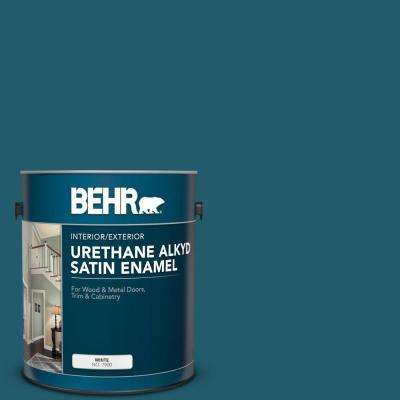 Behr 1 Gal T16 04 Galapagos Urethane Alkyd Satin Enamel Interior Exterior Paint 793001 The Home Depot