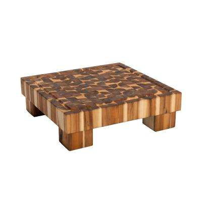 15.75 in. x 15.75 in. x 2.75 in. Thick Massive Acacia Cutting Board On 2 in. Legs