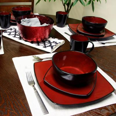 Soho Lounge 16-Piece Casual Burgundy Stone Dinnerware Set (Service for 6)