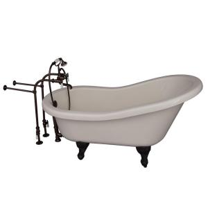 Barclay Products 5 ft. Acrylic Ball and Claw Feet Slipper Tub in Bisque with Oil Rubbed Bronze Accessories by Barclay Products