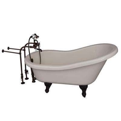5 ft. Acrylic Ball and Claw Feet Slipper Tub in Bisque with Oil Rubbed Bronze Accessories