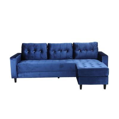 93 in. Blue Velvet 3-Seater Full Sleeper Sectional Sofa Bed with Tapered Legs