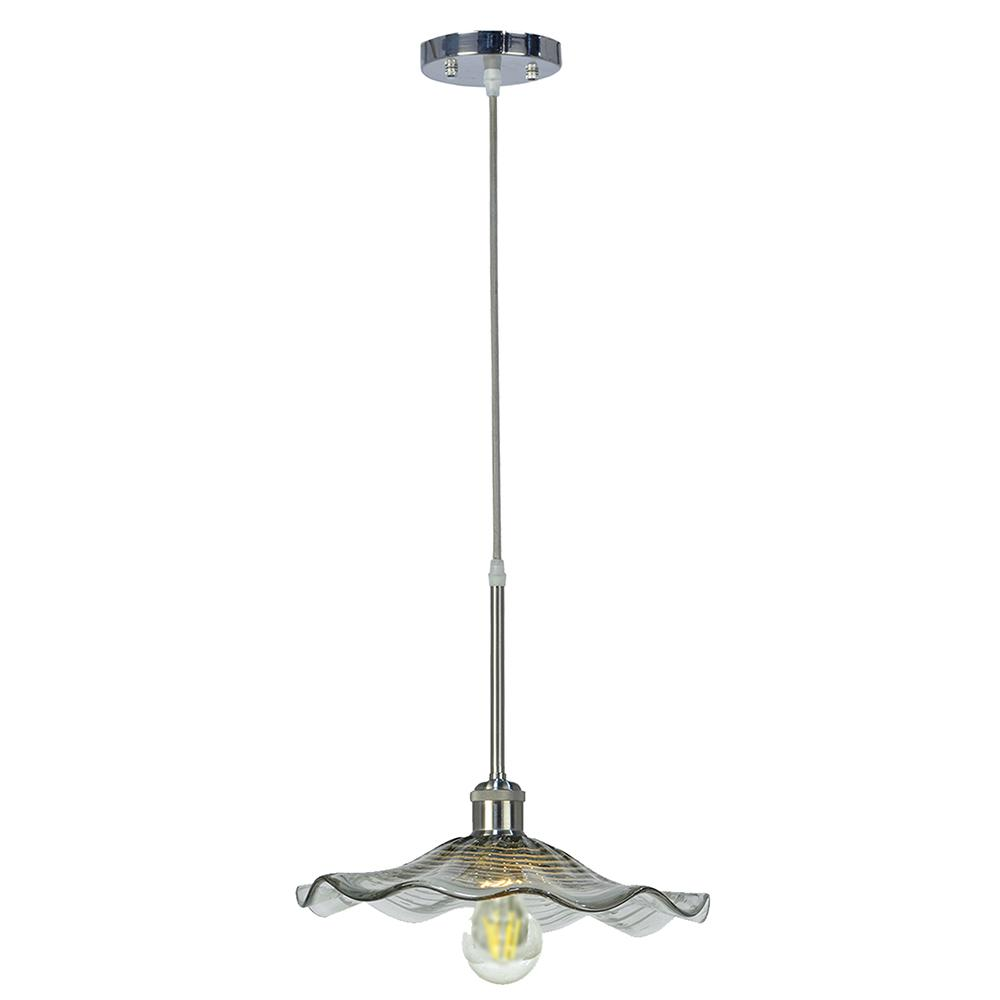 Indonesia Collection 1-Light LED Vintage Bulb Satin Nickel Pendant