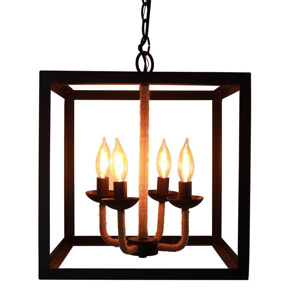 Carlton 14 in. 4-Light Black Pendant