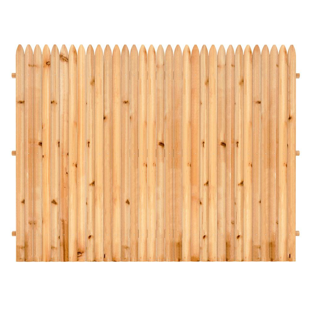 6 ft. x 8 ft. Cedar Doweled Pro Stockade Fence Panel ...