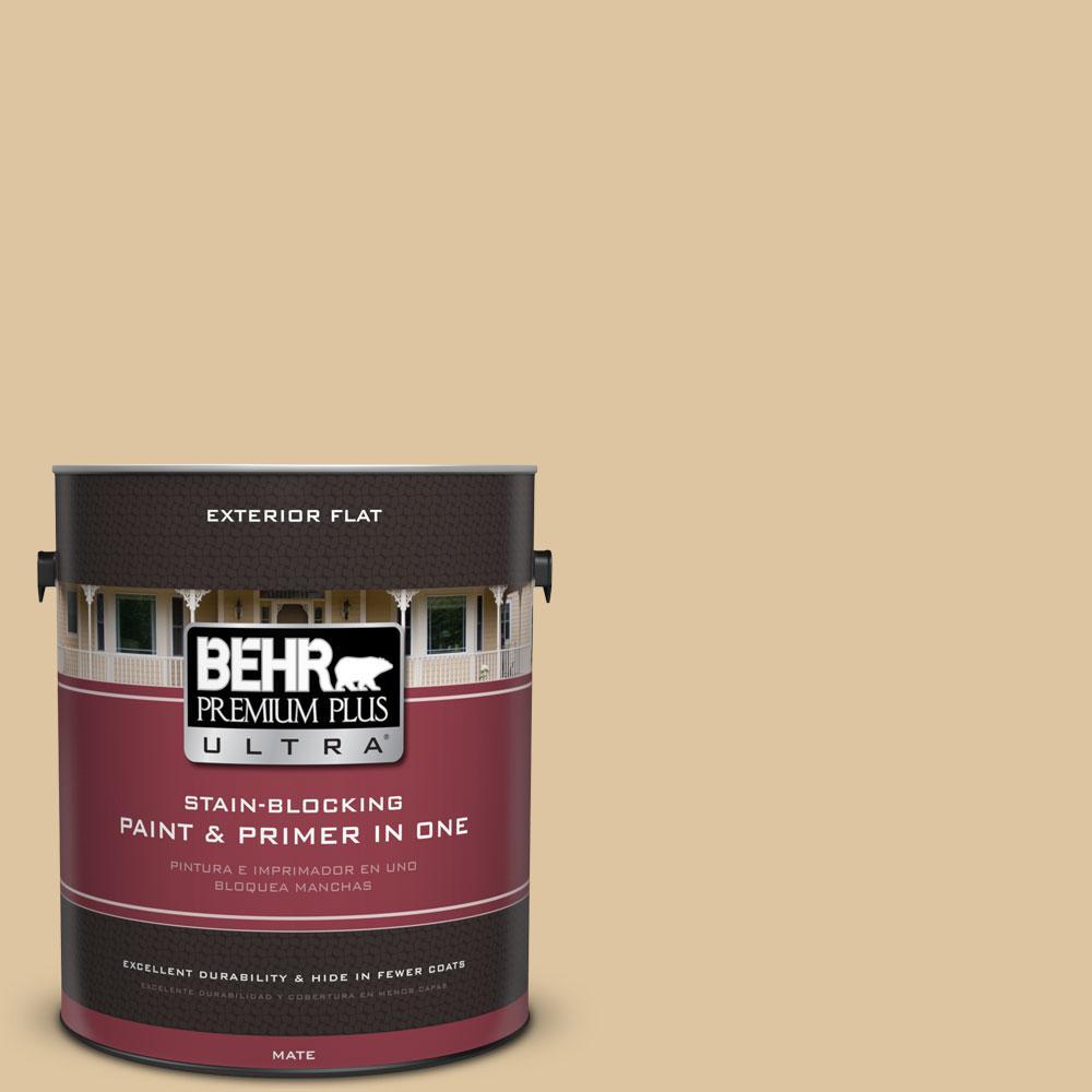 BEHR Premium Plus Ultra 1-gal. #320E-3 Riviera Sand Flat Exterior Paint
