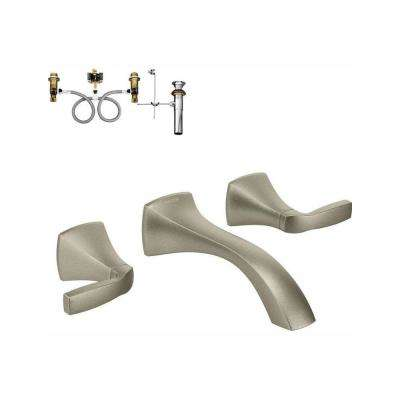 Voss 2-Handle Wall-Mount Bathroom Faucet with Valve in Brushed Nickel