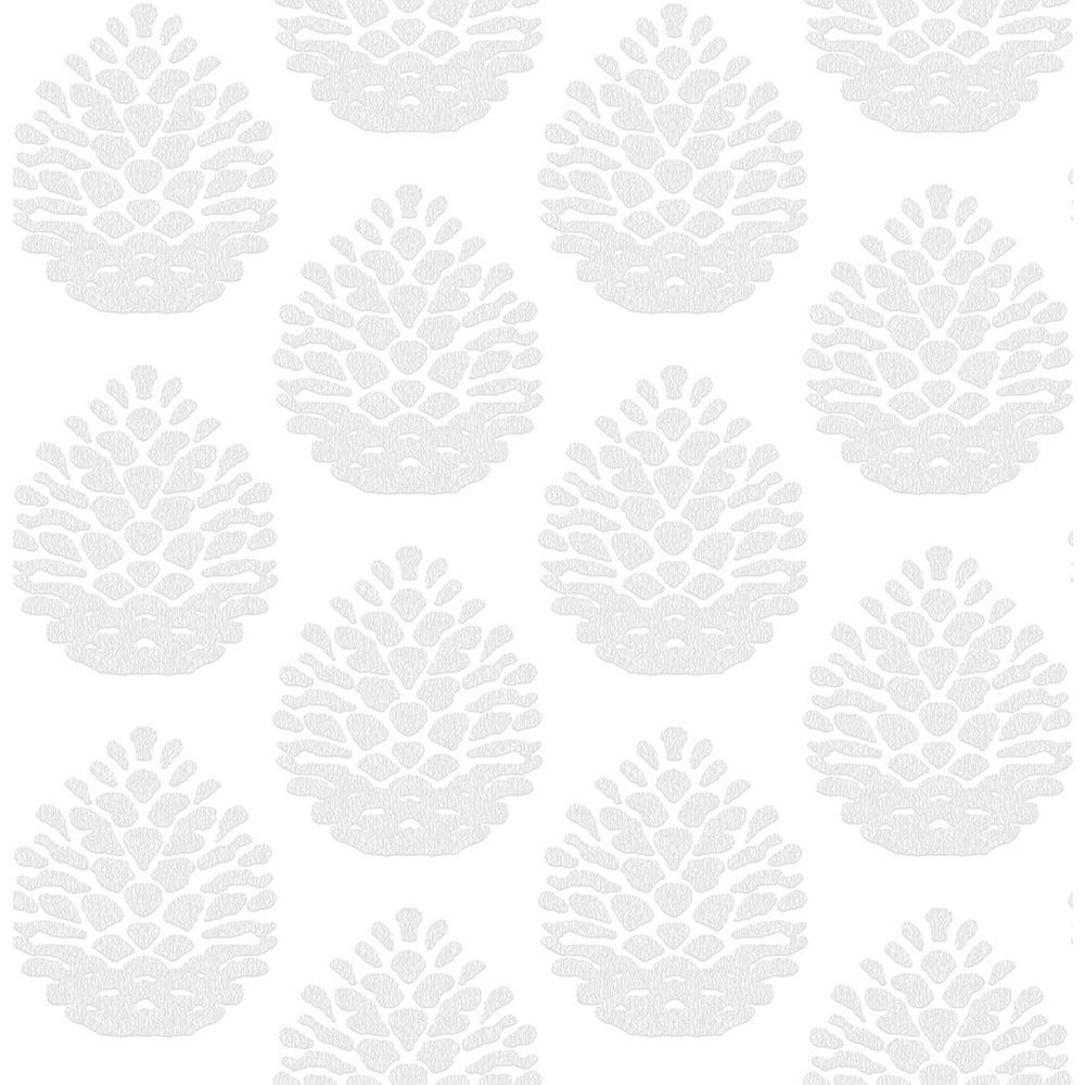 56.4 sq. ft. Totem Light Grey Pinecone Wallpaper