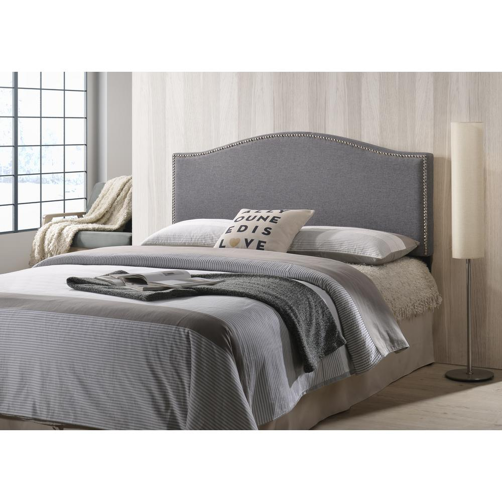 Poly And Bark Gray Ariella Headboard With Nailhead Trim Queen Size