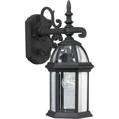 1-Light Outdoor Black Lantern with Clear Beveled Glass Panel