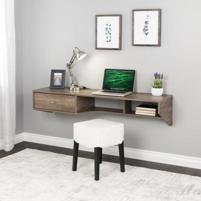 58.25 in. Modern Drifted Gray Floating Desk with Drawer