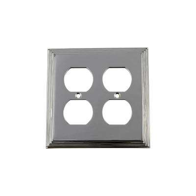 Deco Switch Plate with Double Outlet in Bright Chrome