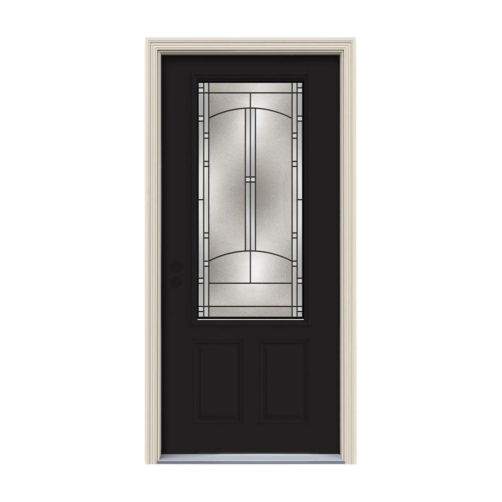 JELD-WEN 36 in. x 80 in. 3/4 Lite Idlewild Black Painted Steel Prehung Right-Hand Inswing Front Door w/Brickmould