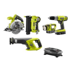Deals on Ryobi 18-Volt ONE+ Lithium-Ion Cordless Kit w/Brad Nailer 5-Tool P1882