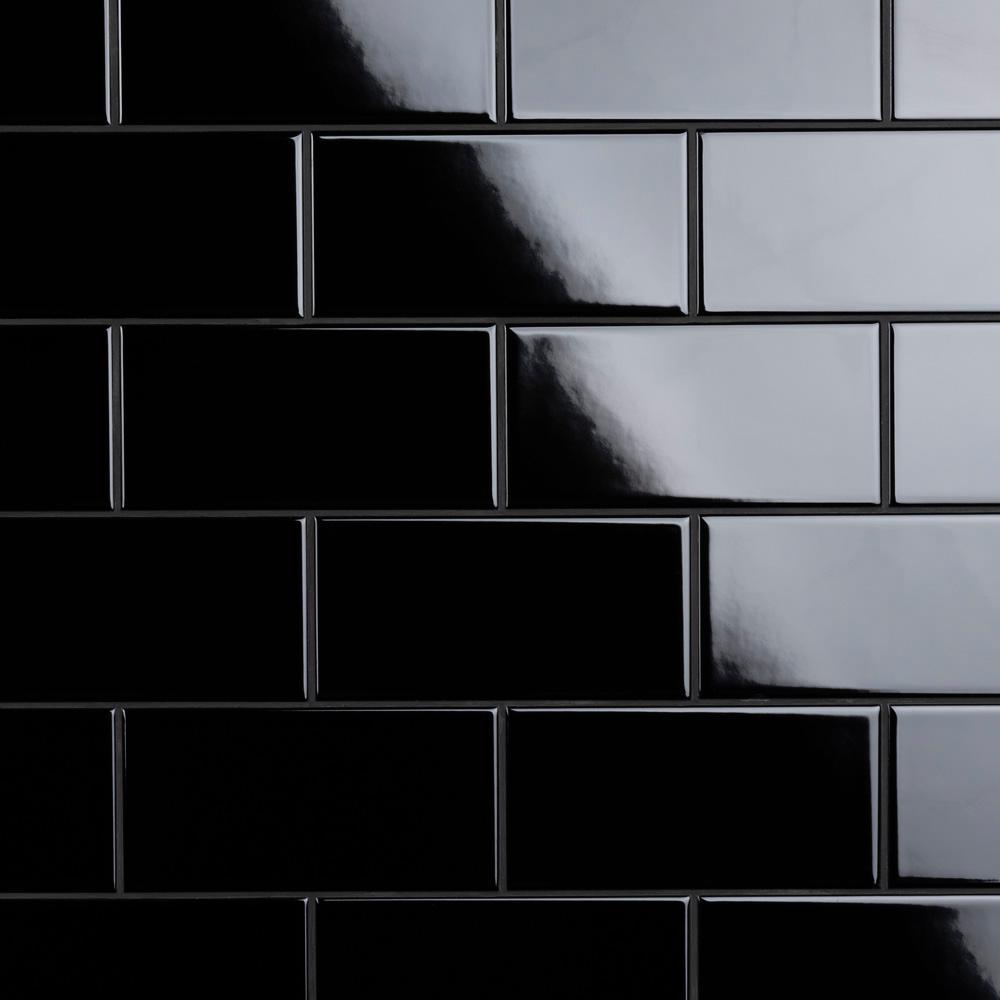 Black 3x6 Subway Ceramic Tile