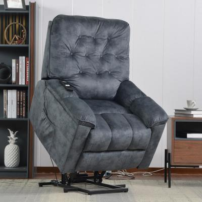 Gray Power Lift Recliner Chair with Remote and Soft Fabric