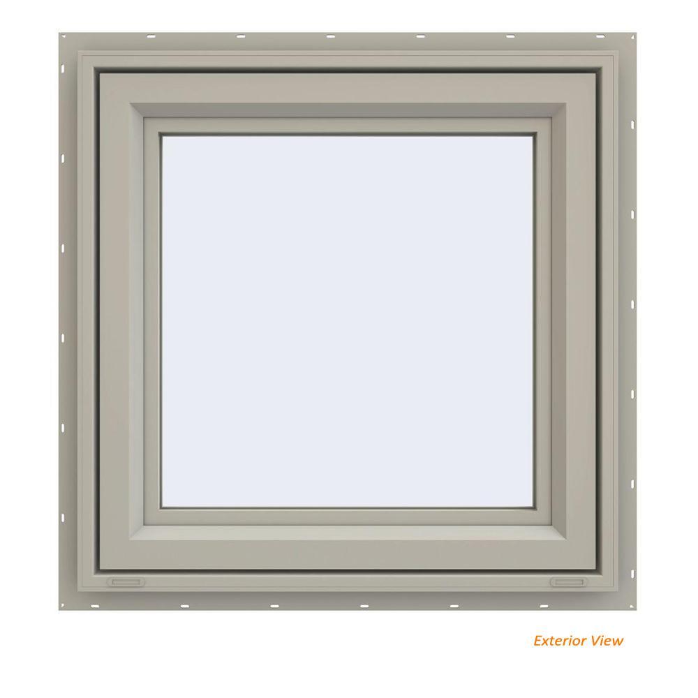 23.5 in. x 23.5 in. V-4500 Series Desert Sand Vinyl Left-Handed Casement Window with Fiberglass Mesh Screen