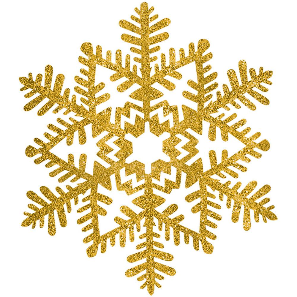 Amscan 6 5 In Gold Glitter Snowflake Decoration 7 Pack