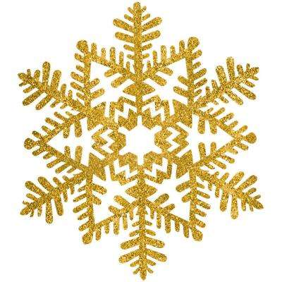6.5 in. Gold Glitter Snowflake Decoration (7-Pack)
