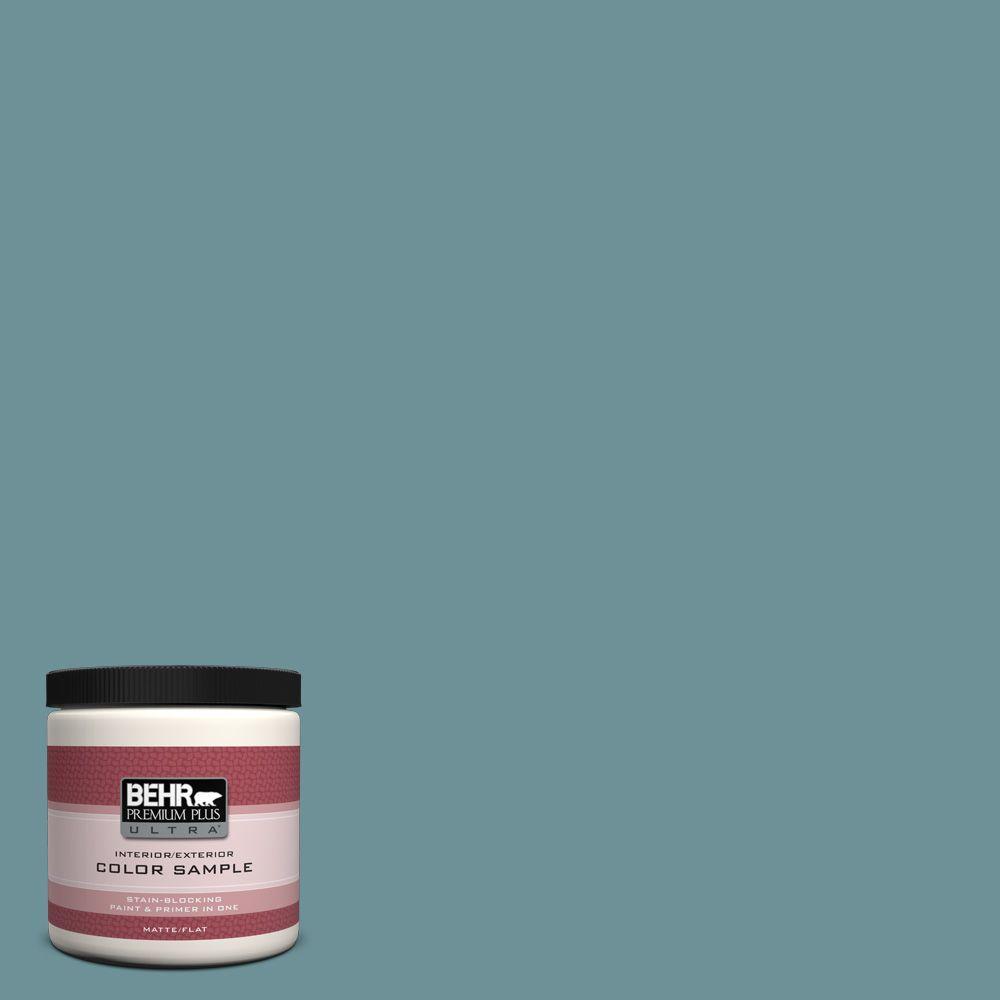 BEHR Premium Plus Ultra 8 oz. #510F-5 Bayside Matte Interior/Exterior Paint and Primer in One Sample