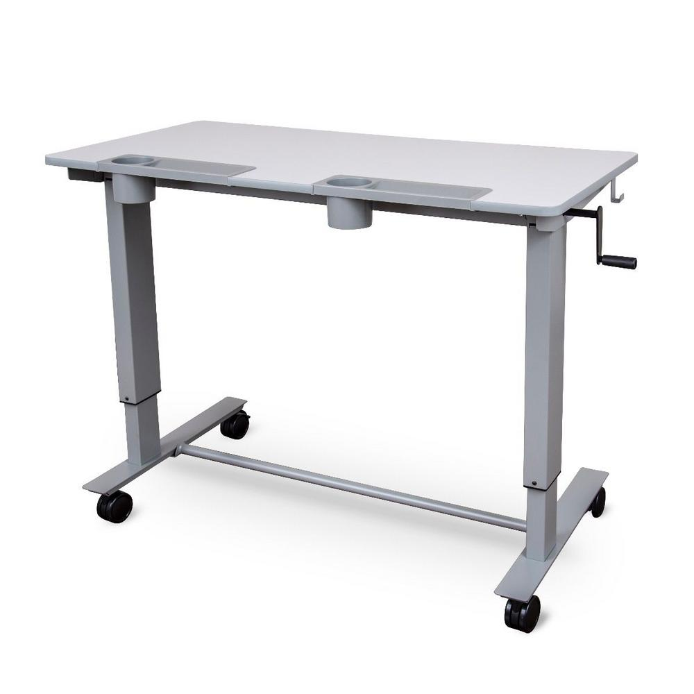 2-Student Gray Standing Desk with Crank (Gray Desktop/Gray Frame)