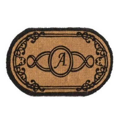 Perfect Home Lexington Brown 30 in. x 18 in. Monogram A Door Mat-DISCONTINUED
