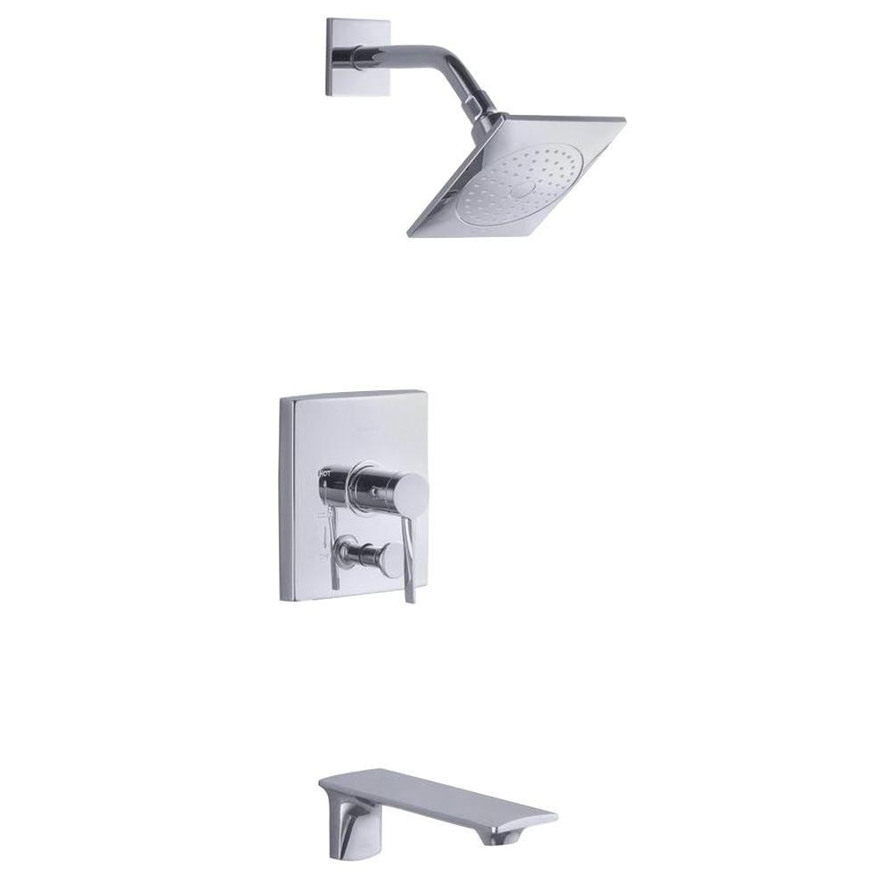 kohler stance ritetemp 1handle tub and shower faucet trim kit in polished chrome valve not the home depot