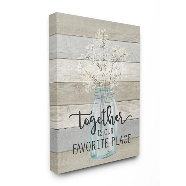 30 in. x 40 in. ''Together is Our Favorite Place'' by Lettered and Lined Printed Canvas Wall Art