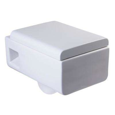 Wall Mount 1-Piece 0.8/1.6 GPF Dual Flush Elongated Square Toilet Bowl Only in White