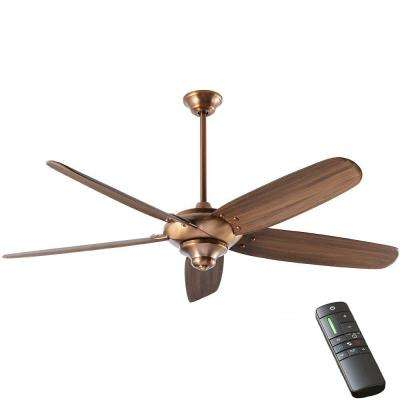 Indoor vintage copper ceiling fan with remote control
