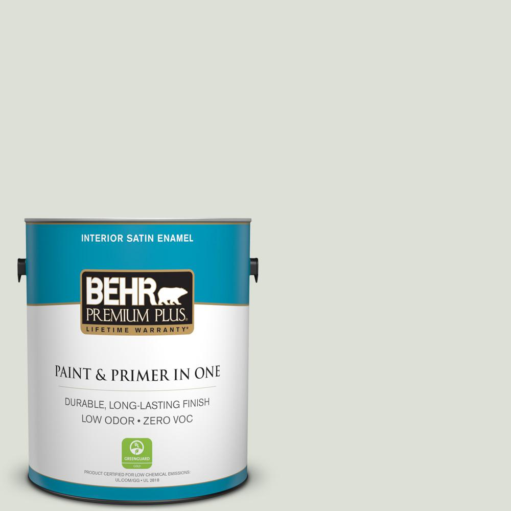 1 gal. #PPU10-12 Whitened Sage Zero VOC Satin Enamel Interior Paint