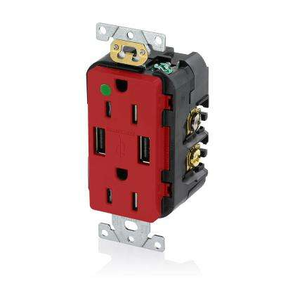 Decora 15 Amp Hospital Grade Tamper Resistant Duplex Outlet and 3.6 Amp USB Outlet, Red