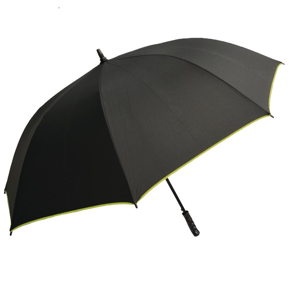9c84213ffd4e6 Rainbrella Black with Green Large Auto-Open Trim Umbrella-48222 ...