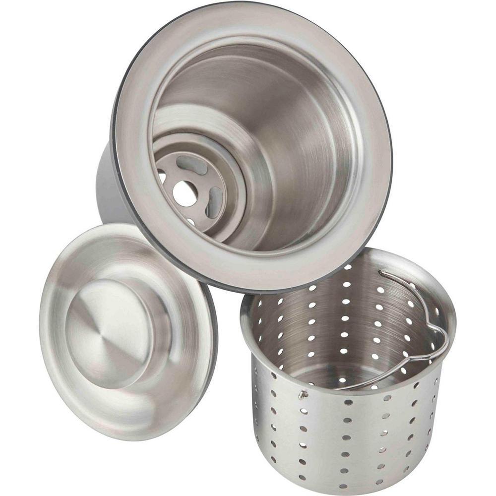 3.5 in. Kitchen Sink Drain with Deep Strainer Basket and Brass Tailpiece
