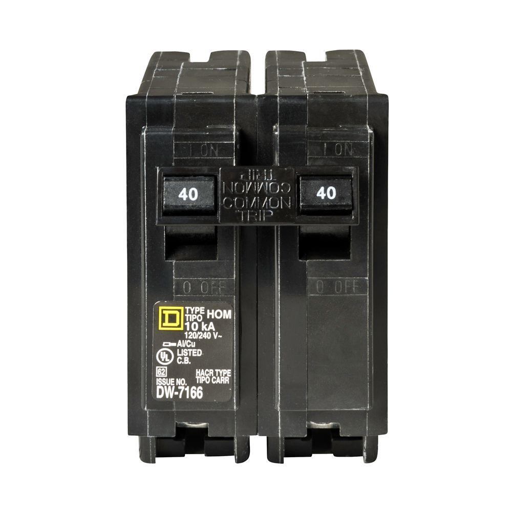 Square D Homeline 40 Amp 2-Pole Circuit Breaker-HOM240CP - The Home ...