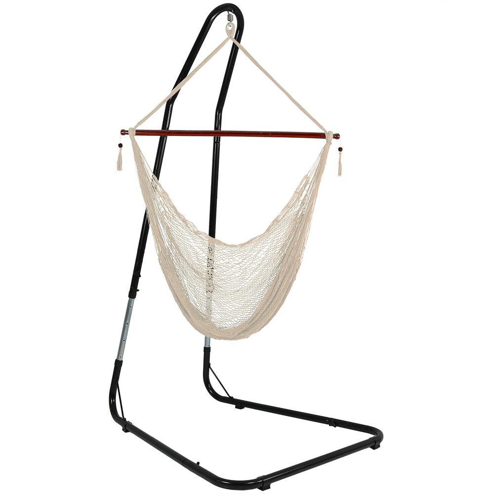 Phenomenal Sunnydaze Decor Cabo 6 Ft L X Large Rope Hammock Chair With Stand In Cream Short Links Chair Design For Home Short Linksinfo